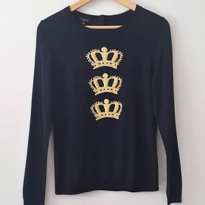 NWT TALBOTS Triple Gold Crown Navy Sweater